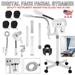 2 IN 1 Facial Steamer With LED Magnifying Floor Lamp Spa Salon Skin Care USA $79.99
