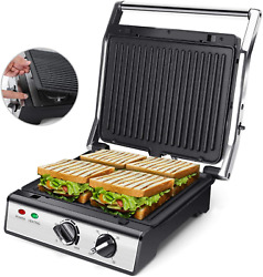 Aigostar Panini Press with removable plates Electric Indoor Grill Smokeless wi $93.65