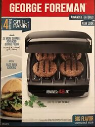 George Foreman Electric Indoor Grill And Panini Press 4 Serving Classic Plate $19.99