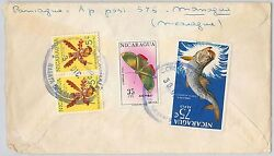 BUTTERFLIES fish ORCHIDS NICARAGUA POSTAL HISTORY COVER 1965 GBP 30.00