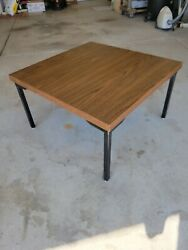 Vintage Mid century Modern Low Coffee Table MCM 26quot; Square Metal Legs $225.00