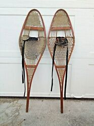 Vintage Snowshoes Wood Frame Approx. 43quot; Long Great Decor $125.00