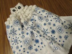 2 Snowflake Winter Hanging Kitchen Dish Towels with Crochet Tops Towel Set White $10.95