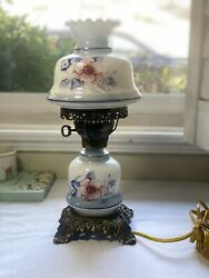 Vintage Hurricane Lamp with Floral Decoration on Glass $65.00