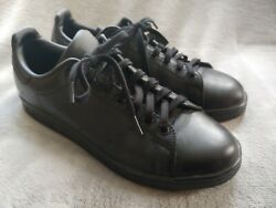 Adidas Stan Smith Triple Black Tennis Shoes Sneakers Size 10.5 Preowned $54.99