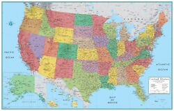 32x50 Rand McNally Style United States USA US Large Wall Map Poster by RMC $14.95