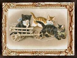 Cat Cats Kitten Miniature Dollhouse Doll House Picture $14.22