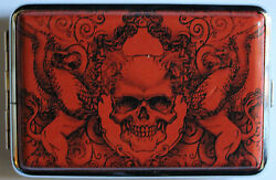 New Cigarette Stash Joint Pot Marijuana Case Wallet Gothic Red Griffin Skull
