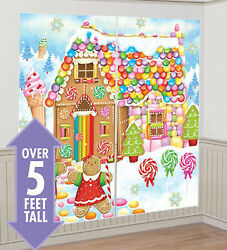 GINGERBREAD HOUSE Scene Setter Christmas party wall decor kit 5#x27; candy sweets $11.99