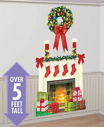 HOLIDAY HEARTH Scene Setter Christmas party wall decor kit 5#x27; fireplace stocking $9.95