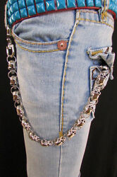 New Silver Chunky Metal Long Wallet Chains Key Chain Large Skulls Skeleton Biker $25.99