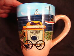 mug cup Nantucket beach sail boats lighthouse beach scene morning coffee tea
