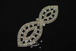 1 pcs Costume Dress Applique Crystal Rhinestine Sewing On(A502) Golden