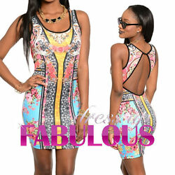 New WOMEN'S SUMMER DRESS Size 6 8 10 12 14 FANCY SLEEVELESS BODYCON PARTY TOP $19.15