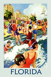 Girls Beach Swim Florida Travel Tourism Vintage Poster Repro FREE S H in USA $26.95