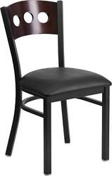 LOT OF 20 BLACK DECORATIVE 3 CIRCLE BACK METAL RESTAURANT CHAIR - WALNUT WOOD