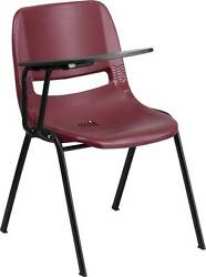 LOT OF 20 BURGUNDY ERGONOMIC SHELL CHAIR WITH RIGHT HANDED FLIP-UP TABLET ARM