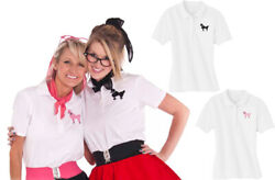 Hip Hop 50s Shop Womens Polo Shirt with Poodle for Halloween or Dance Costume $22.99