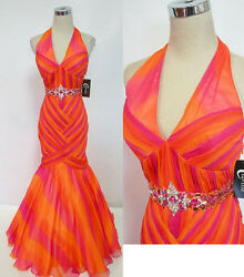 NWT CLARISSE $380 Fuchsia Orange Prom Formal Gown 2