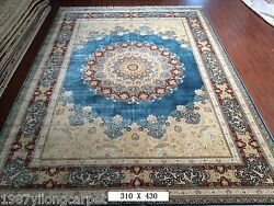 10x14 Large Natural Pure Silk Hand Knotted Persian Rug Living Room Blue Carpet