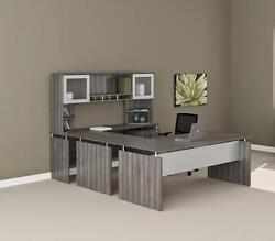 Mayline Medina Gray Steel Wood Finished Straight Front U Desk MNT39LGS