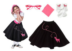 Hip Hop 50s Shop 4 pc Girls Poodle Skirt Outfit Halloween or Dance Costume $51.99