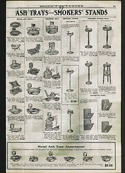 1922 ADVERTISEMENT Smokers' Ash Tray Stand Leather Hand Bags