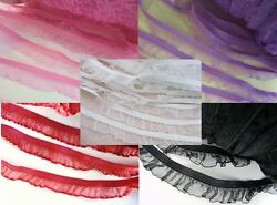 10 yards Spandex Elastic Organza Sheer Ruffle Lace Trimsewingnotion T122-Color $6.99