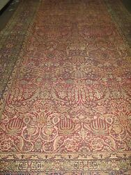 Antique Hand Knotted Wool Persian Lavar Kerman Shah Rug 10' x 20'-9
