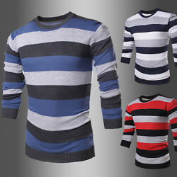 2016 New Mens Long Sleeve Sweaters Striped Casual Pullover Fit Slim Wool Sweater
