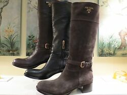 NWB WOMENS AUTHENTIC PRADA TALL LEATHER BOOTS BLACK OR BROWN 4010 4111 4212