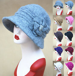 Womens 1920s Vintage Gatsby Style Wool Beanie Cloche Bucket Cap Winter Hats A299
