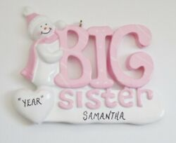 Personalized Snowman Big Sister Christmas Ornament
