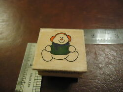 SNOWMAN WITH EARMUFFS & SCARF RUBBER STAMP CHRISTMAS CARD SEASON HOLIDAY WINTER