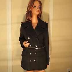 NWT WOMENS AUTHENTIC BURBERRY LONDON BLACK WOOL CASHMERE PEA COAT JACKET 810