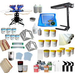 6 Color Silk Screen Printing Supplies Press Kit Micro-registration Printer Dryer
