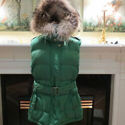 WOMENS AUTHENTIC BURBERRY BRIT DOWN VEST JACKET WRACCOON FUR HOOD XL WORN 1X
