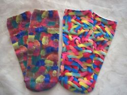 2 PAIR Ladies girls novelty 3D footie no show socks Candy GUMMY BEARS WORMS $7.99