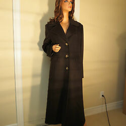 NEW WOMENS FLEURETTE BROWN LONG 50% CASHMERE & 50% WOOL COAT SIZE 14