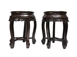 Pair Chinese Rosewood Huali Round Carving Stool fs485