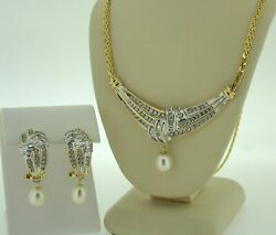 14K Yellow Gold Diamond with Pearl Accent Necklace Pendant & Earrings