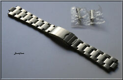 20mm Curved End OYSTER Solid Stainless Steel Watch bracelet Band Screws Links $19.95