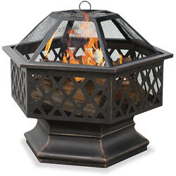 Outdoor Wood Burning Steel Fire Pit Portable Spark Screen Yard Patio Deck Decor