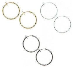 Pierced Look Clip on Hoop Earrings 1 38 inch With Snug Fit Spring Closure