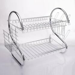 2 Tiers Kitchen Dish Cup Drying Rack Drainer Dryer Cultery Holder Organizer US $15.69