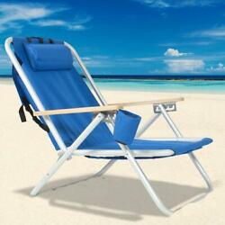 New Backpack Beach Chair Folding Portable Chair Blue Solid Construction Camping $49.68