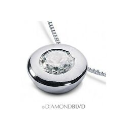 1.30 CT FSI2Ex Round Earth Mined Diamond Platinum Bezel Solitaire Pendant 7.1g