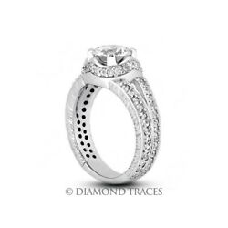 3.31ct E-I1 Ideal Round Genuine Diamonds 14k Gold Split Band Milgrain Ring 7.6mm