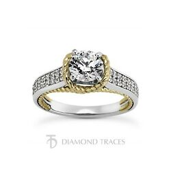 3.43ct F-I1 VG Round AGI Genuine Diamonds 14k Gold Rope Two-Pave Rows Ring 3.6mm