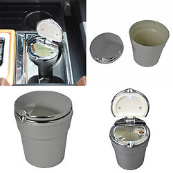 New LED Automotive Cup Ashtray Coin Holder Cigarette Bucket Car Truck Silver Vw